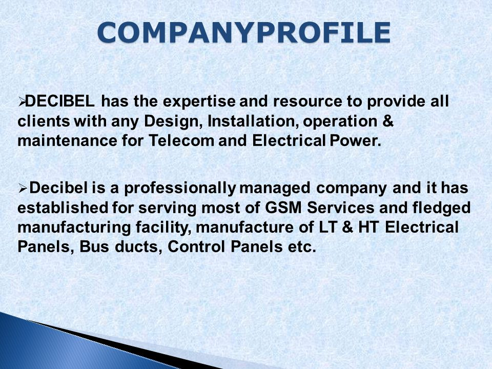  In 2009 Decibel - Established as HEZ consulting company  Decibel Telecom and Electrical Services Company is an established Telecom and Electrical services and solutions company in the town (Iraq/ Kurdistan).