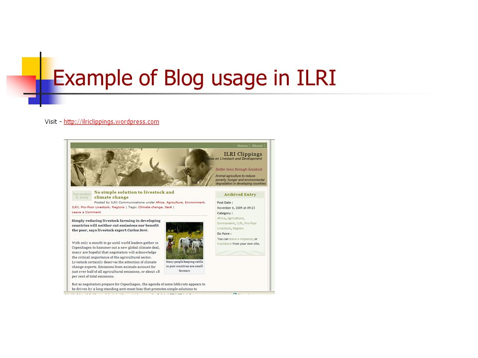 Example of Blog usage in ILRI Visit -