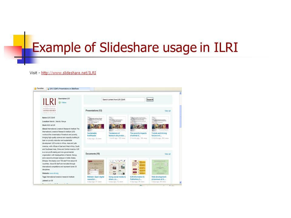 Example of Slideshare usage in ILRI Visit -