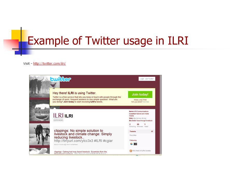 Example of Twitter usage in ILRI Visit -