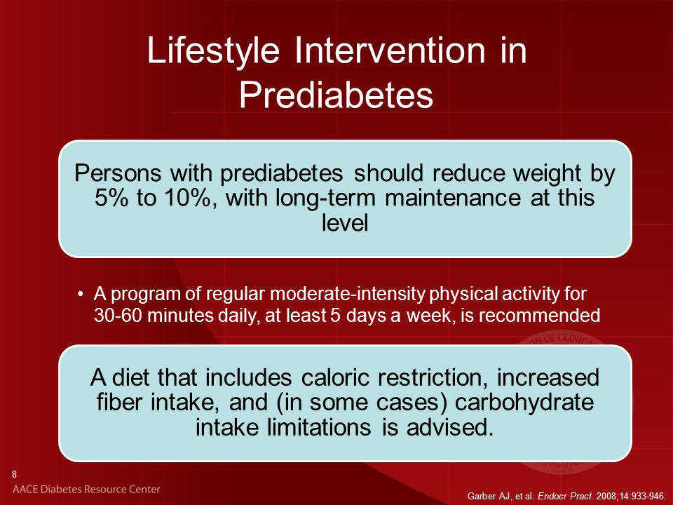 8 Lifestyle Intervention in Prediabetes Persons with prediabetes should reduce weight by 5% to 10%, with long-term maintenance at this level A diet that includes caloric restriction, increased fiber intake, and (in some cases) carbohydrate intake limitations is advised.