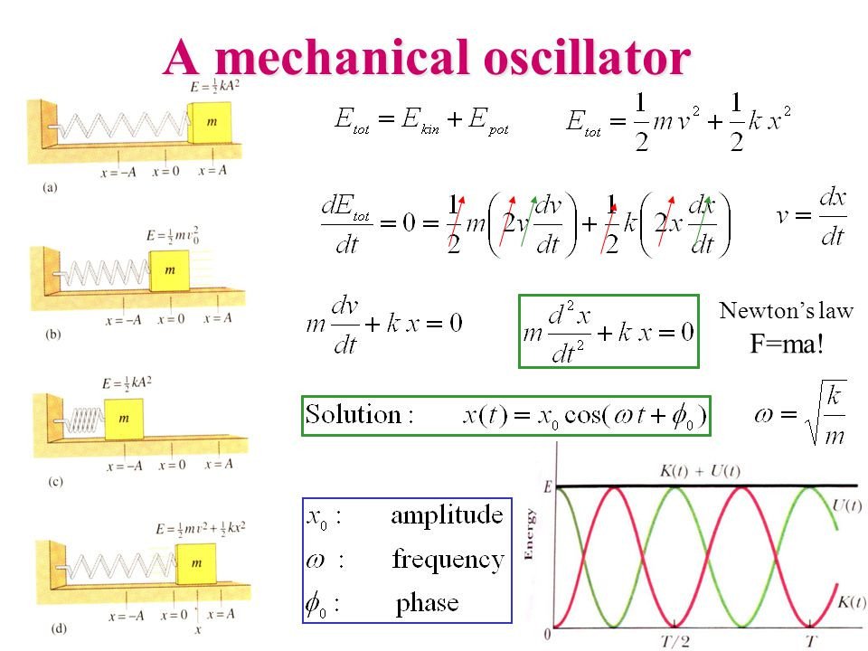A mechanical oscillator Newton's law F=ma!