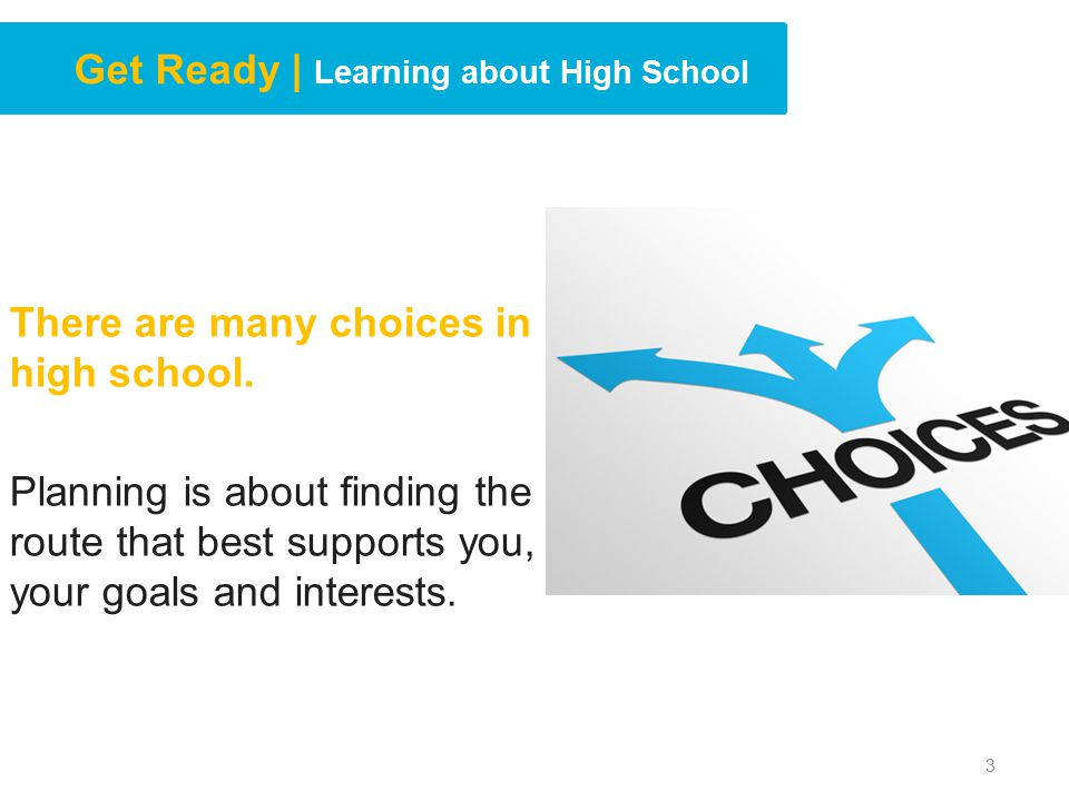 Get Ready | Learning about High School There are many choices in high school.