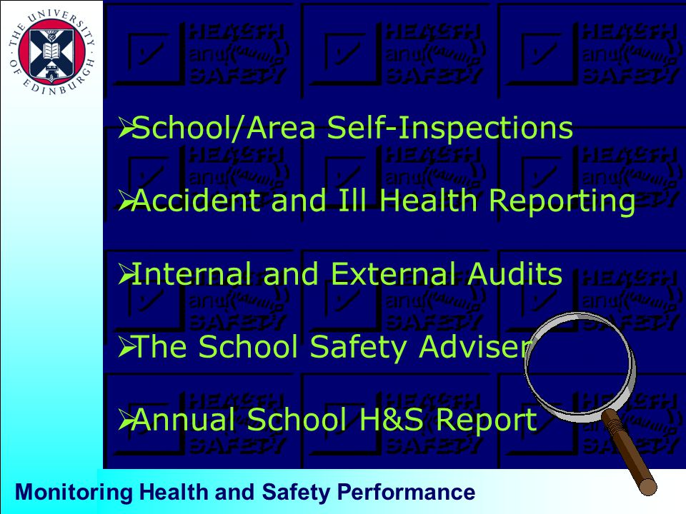 Monitoring Health and Safety Performance  School/Area Self-Inspections  Accident and Ill Health Reporting  Internal and External Audits  The School Safety Adviser  Annual School H&S Report