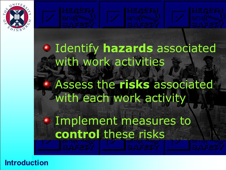 Introduction Identify hazards associated with work activities Assess the risks associated with each work activity Implement measures to control these risks
