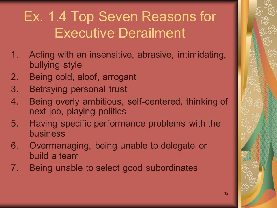 12 Ex. 1.4 Top Seven Reasons for Executive Derailment 1.Acting with an insensitive, abrasive, intimidating, bullying style 2.Being cold, aloof, arroga
