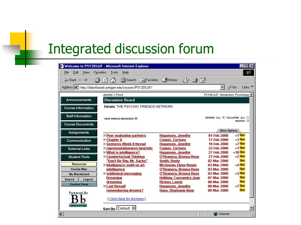 Integrated discussion forum