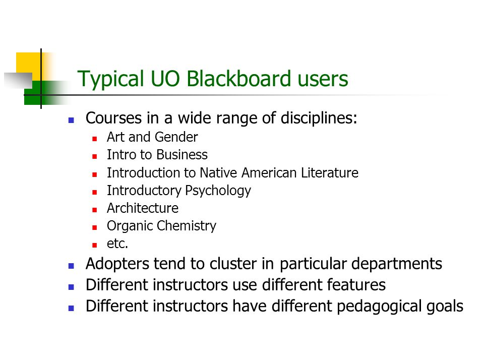 Typical UO Blackboard users Courses in a wide range of disciplines: Art and Gender Intro to Business Introduction to Native American Literature Introductory Psychology Architecture Organic Chemistry etc.