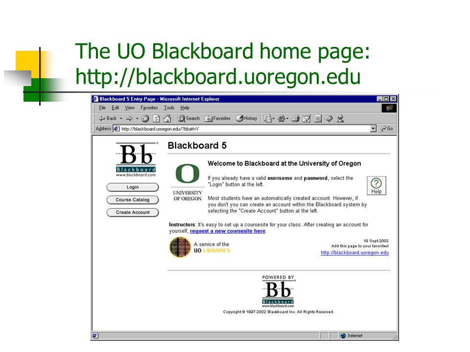 The UO Blackboard home page: