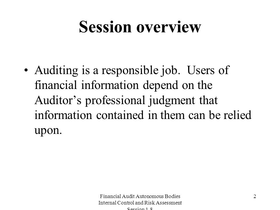 Financial Audit Autonomous Bodies Internal Control and Risk Assessment Session Session overview Auditing is a responsible job.
