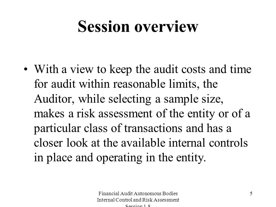 Financial Audit Autonomous Bodies Internal Control and Risk Assessment Session Session overview With a view to keep the audit costs and time for audit within reasonable limits, the Auditor, while selecting a sample size, makes a risk assessment of the entity or of a particular class of transactions and has a closer look at the available internal controls in place and operating in the entity.