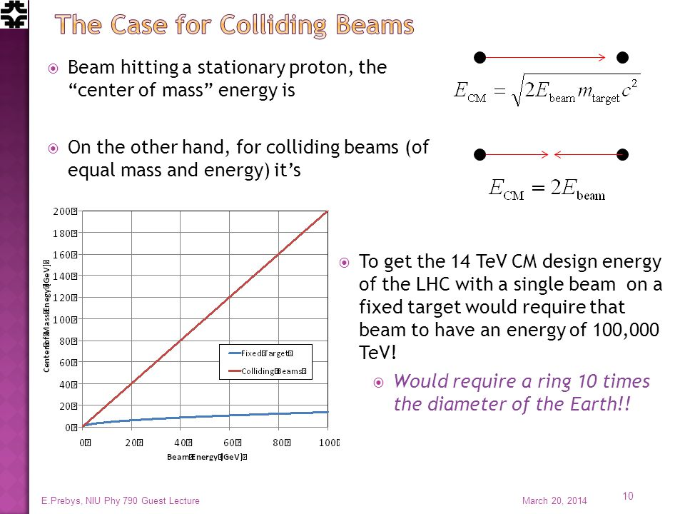  Beam hitting a stationary proton, the center of mass energy is  On the other hand, for colliding beams (of equal mass and energy) it's  To get the 14 TeV CM design energy of the LHC with a single beam on a fixed target would require that beam to have an energy of 100,000 TeV.