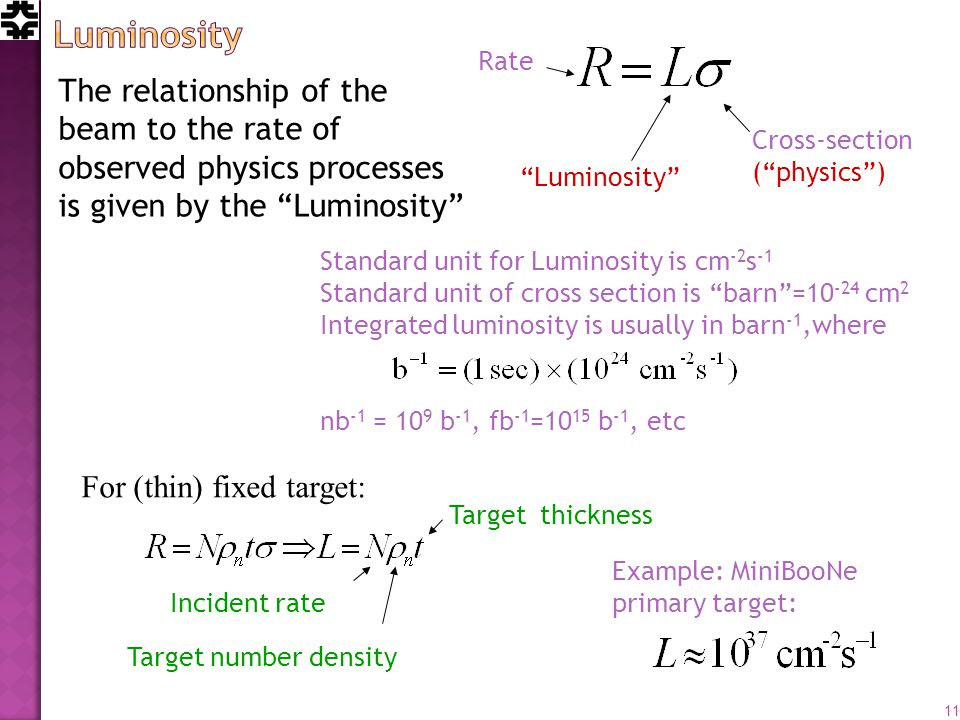 The relationship of the beam to the rate of observed physics processes is given by the Luminosity Rate Cross-section ( physics ) Luminosity Standard unit for Luminosity is cm -2 s -1 Standard unit of cross section is barn = cm 2 Integrated luminosity is usually in barn -1,where nb -1 = 10 9 b -1, fb -1 =10 15 b -1, etc Incident rate Target number density Target thickness Example: MiniBooNe primary target: 11 For (thin) fixed target: