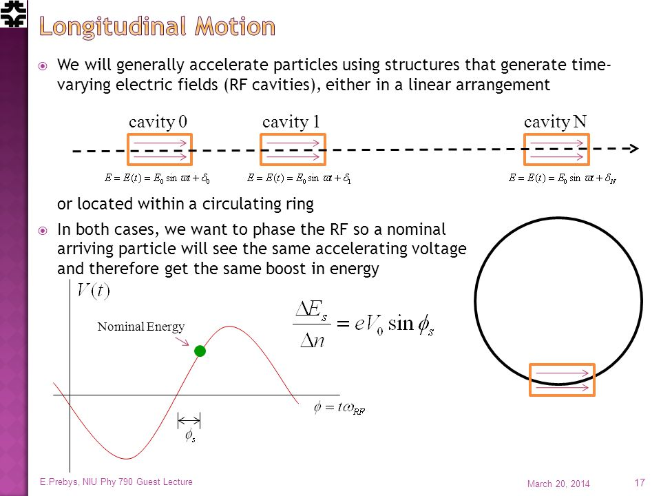  We will generally accelerate particles using structures that generate time- varying electric fields (RF cavities), either in a linear arrangement or located within a circulating ring  In both cases, we want to phase the RF so a nominal arriving particle will see the same accelerating voltage and therefore get the same boost in energy March 20, 2014 E.Prebys, NIU Phy 790 Guest Lecture 17 cavity 0cavity 1cavity N Nominal Energy