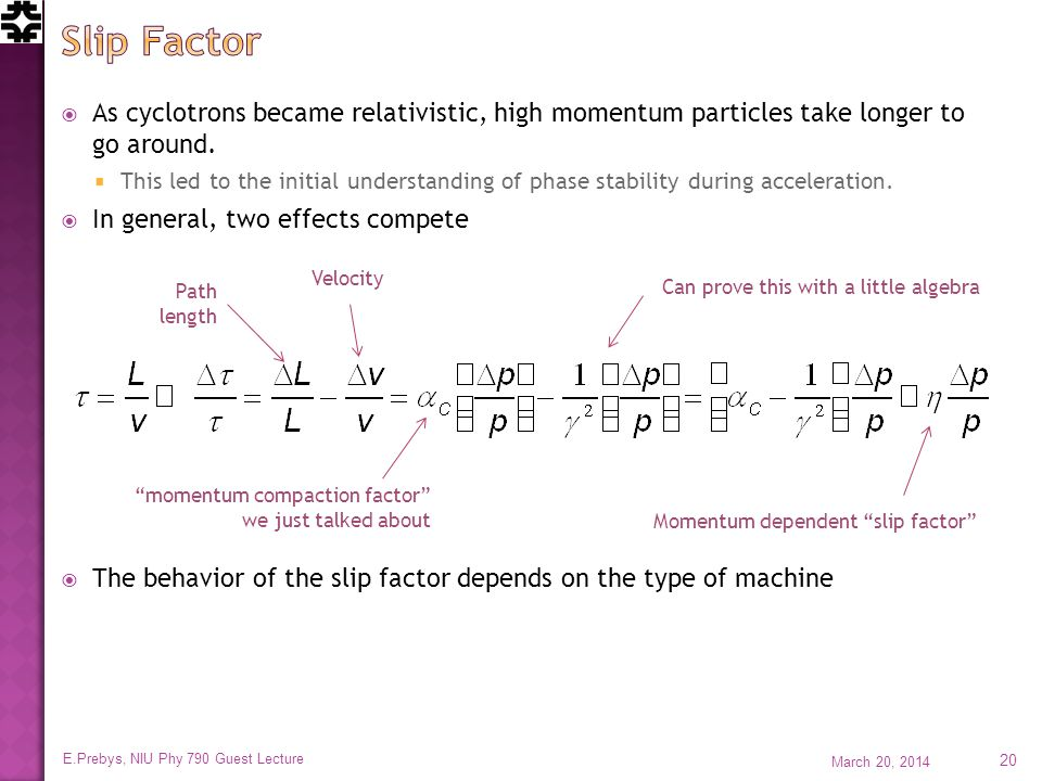 As cyclotrons became relativistic, high momentum particles take longer to go around.