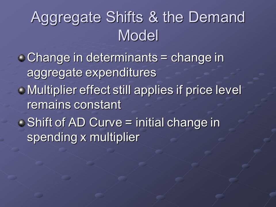 Aggregate Shifts & the Demand Model Change in determinants = change in aggregate expenditures Multiplier effect still applies if price level remains constant Shift of AD Curve = initial change in spending x multiplier