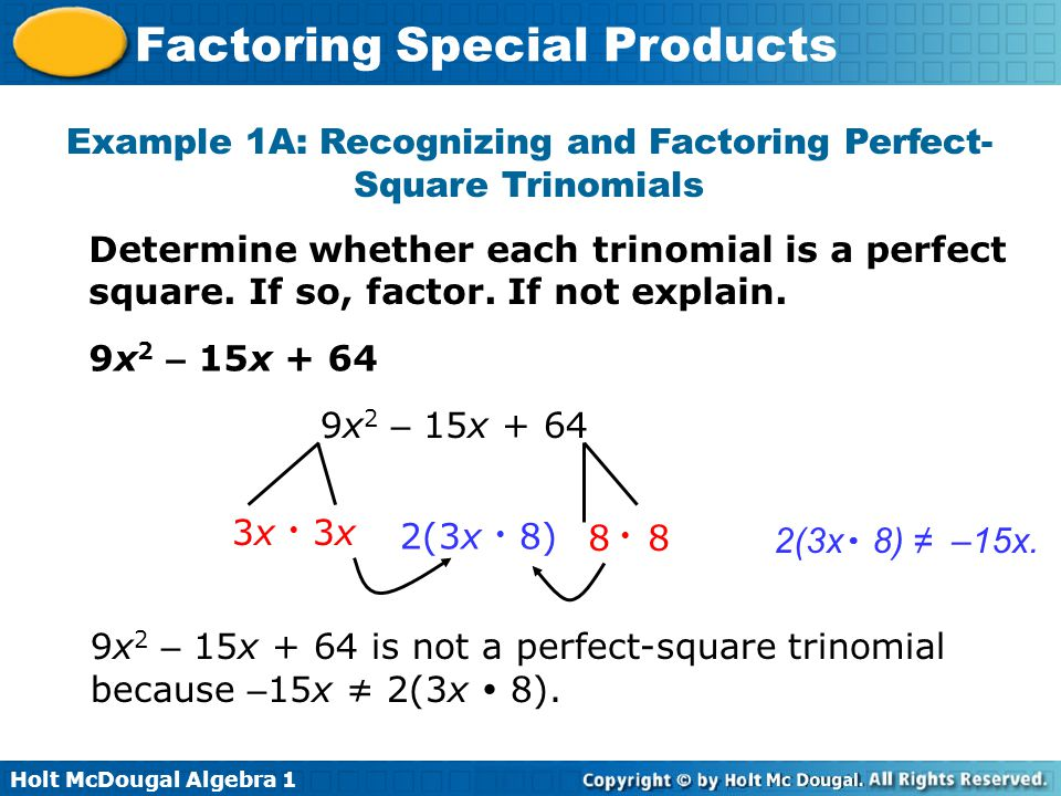 Factoring Special Products - ppt download