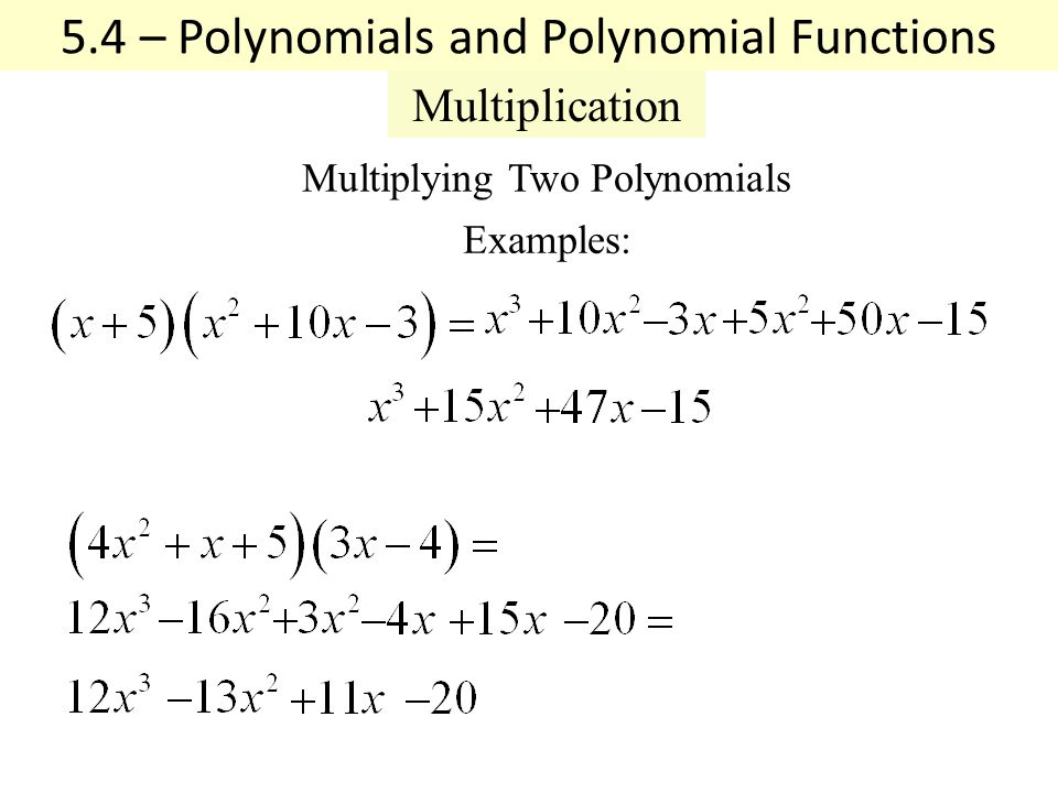 53 Polynomials And Polynomial Functions Definitions Coefficient