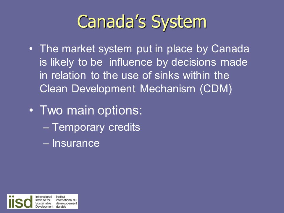 Canada's System The market system put in place by Canada is likely to be influence by decisions made in relation to the use of sinks within the Clean Development Mechanism (CDM) Two main options: –Temporary credits –Insurance