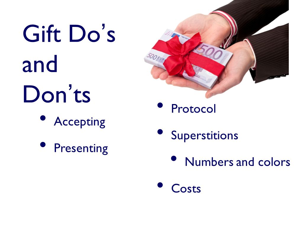 Gift Do's and Don'ts Accepting Presenting Protocol Superstitions Numbers and colors Costs