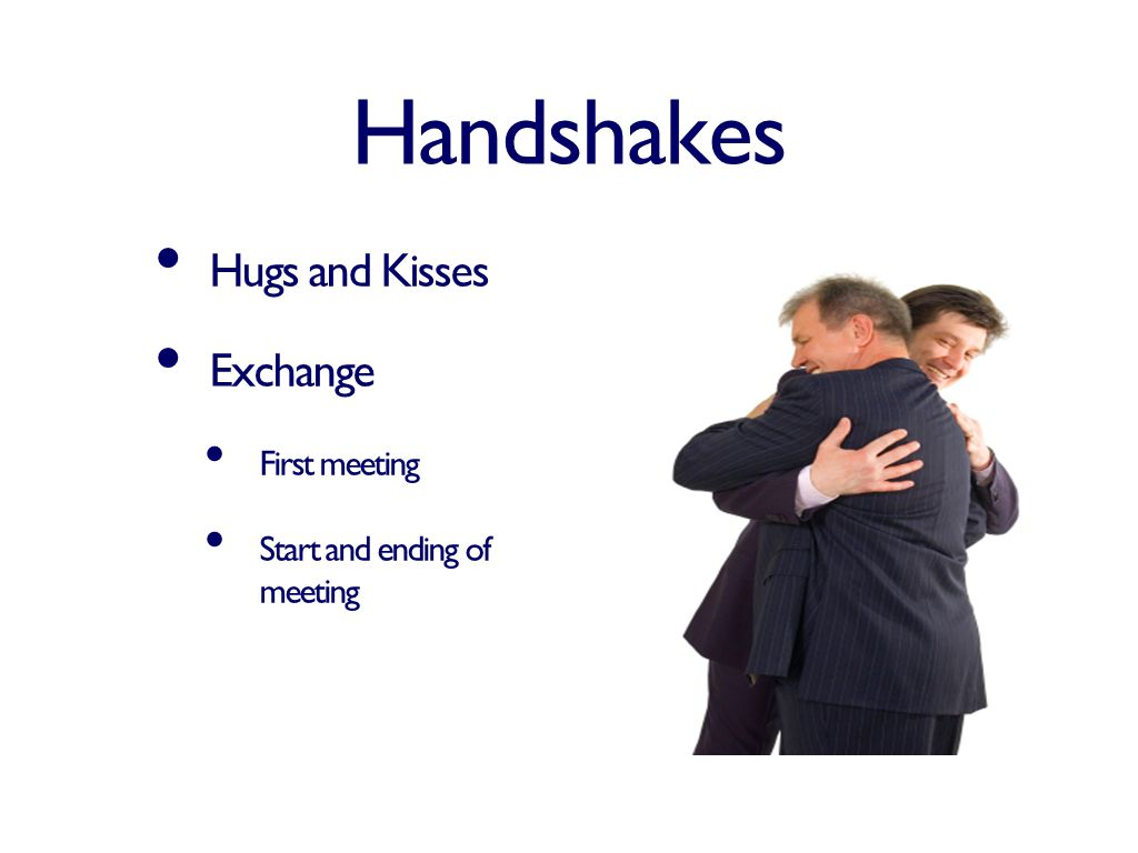 Handshakes Hugs and Kisses Exchange First meeting Start and ending of meeting