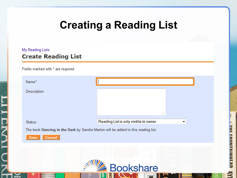 Creating a Reading List