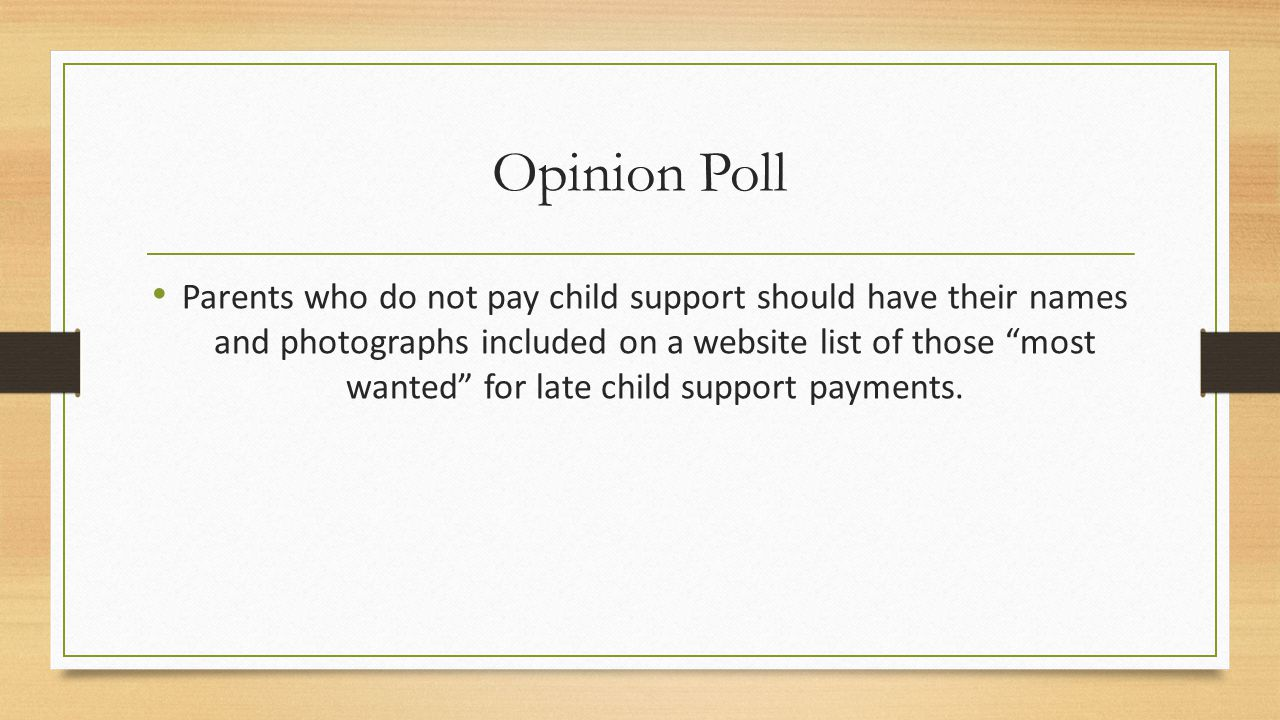 Opinion Poll Parents who do not pay child support should have their names and photographs included on a website list of those most wanted for late child support payments.