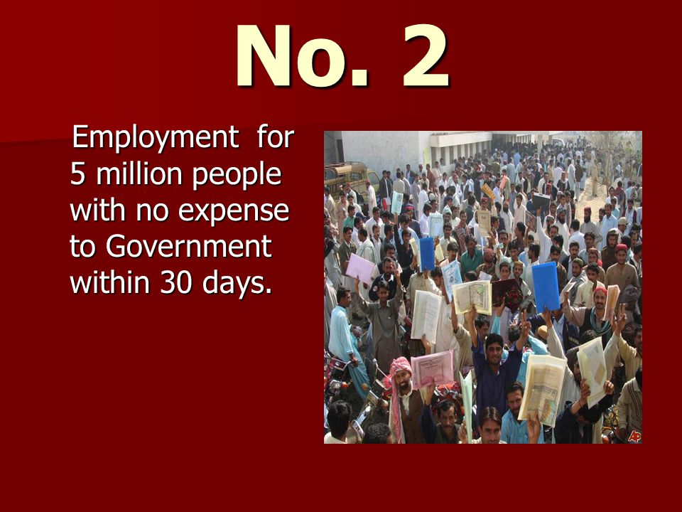 Employment for 5 million people with no expense to Government within 30 days.