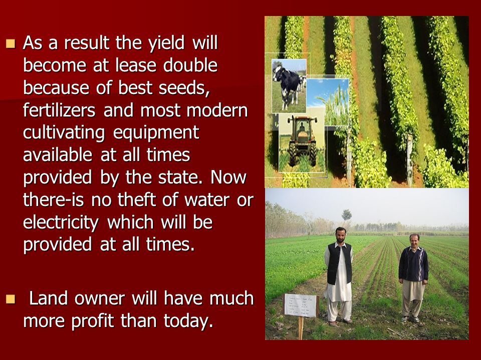 As a result the yield will become at lease double because of best seeds, fertilizers and most modern cultivating equipment available at all times provided by the state.