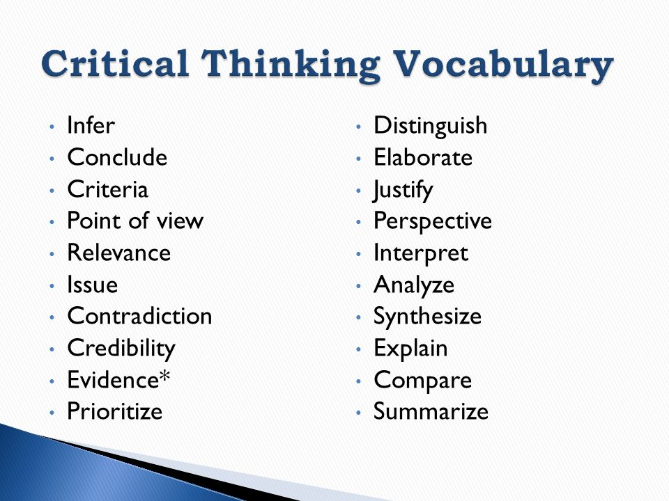 critical thinking vocabulary list English language arts standards this stresses critical-thinking, problem-solving, and analytical skills that are required for success in college.