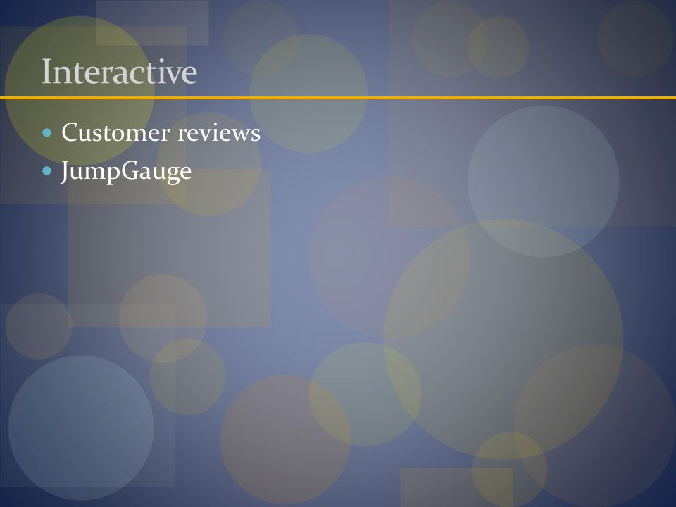 Interactive Customer reviews JumpGauge