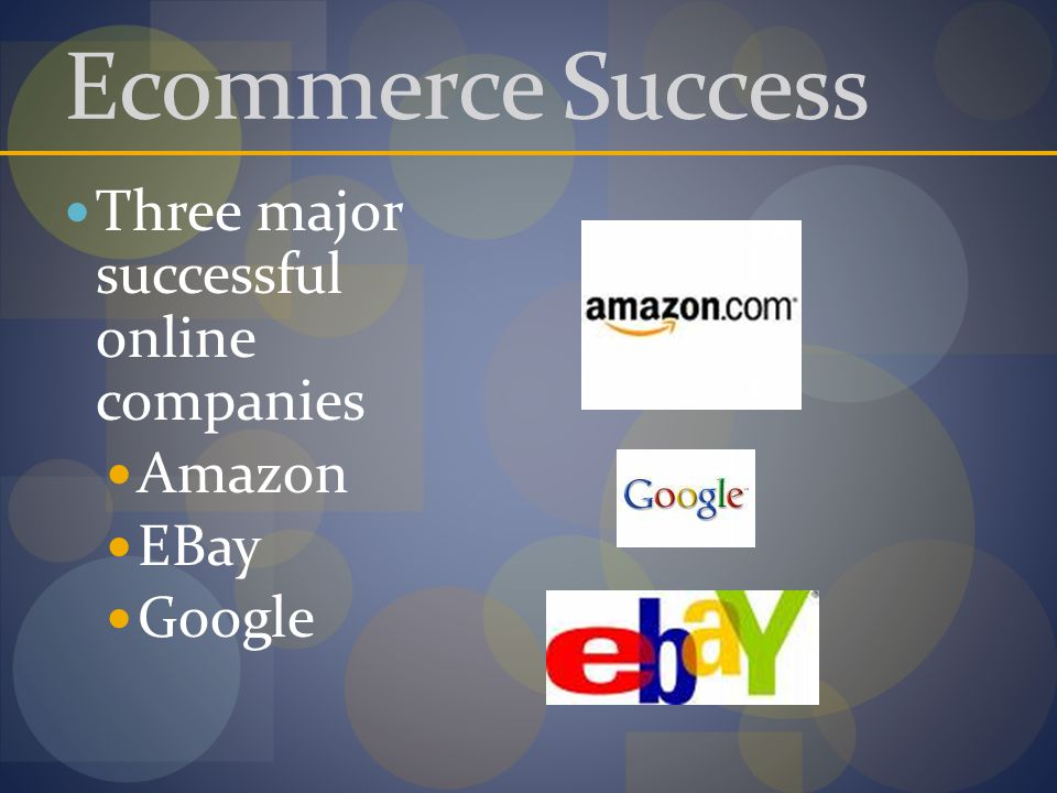 Ecommerce Success Three major successful online companies Amazon EBay Google
