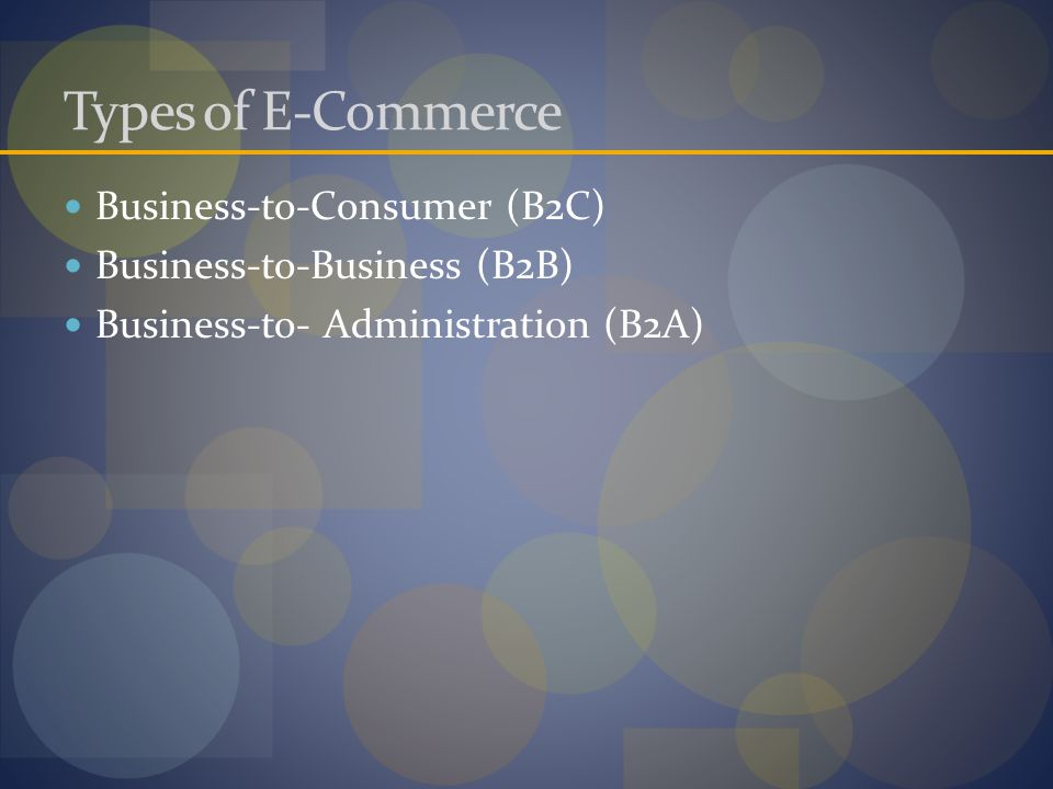 Types of E-Commerce Business-to-Consumer (B2C) Business-to-Business (B2B) Business-to- Administration (B2A)
