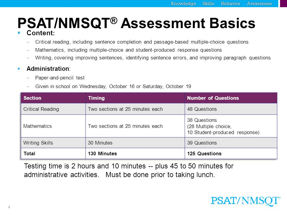 4 PSAT/NMSQT ® Assessment Basics  Content : –Critical reading, including sentence completion and passage-based multiple-choice questions –Mathematics, including multiple-choice and student-produced response questions –Writing, covering improving sentences, identifying sentence errors, and improving paragraph questions  Administration: –Paper-and-pencil test –Given in school on Wednesday, October 16 or Saturday, October 19 Testing time is 2 hours and 10 minutes -- plus 45 to 50 minutes for administrative activities.
