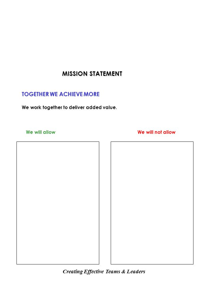 MISSION STATEMENT TOGETHER WE ACHIEVE MORE We work together to deliver added value.