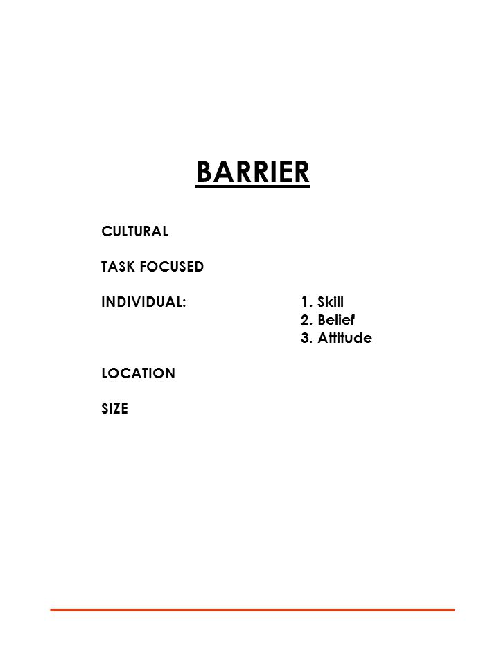BARRIER CULTURAL TASK FOCUSED INDIVIDUAL:1. Skill 2. Belief 3. Attitude LOCATION SIZE