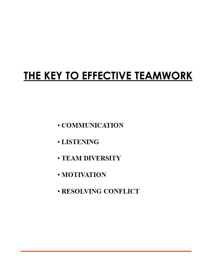 THE KEY TO EFFECTIVE TEAMWORK COMMUNICATION LISTENING TEAM DIVERSITY MOTIVATION RESOLVING CONFLICT