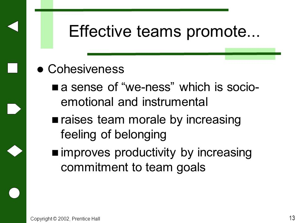 "Copyright © 2002, Prentice Hall 13 Effective teams promote... Cohesiveness a sense of ""we-ness"" which is socio- emotional and instrumental raises team"