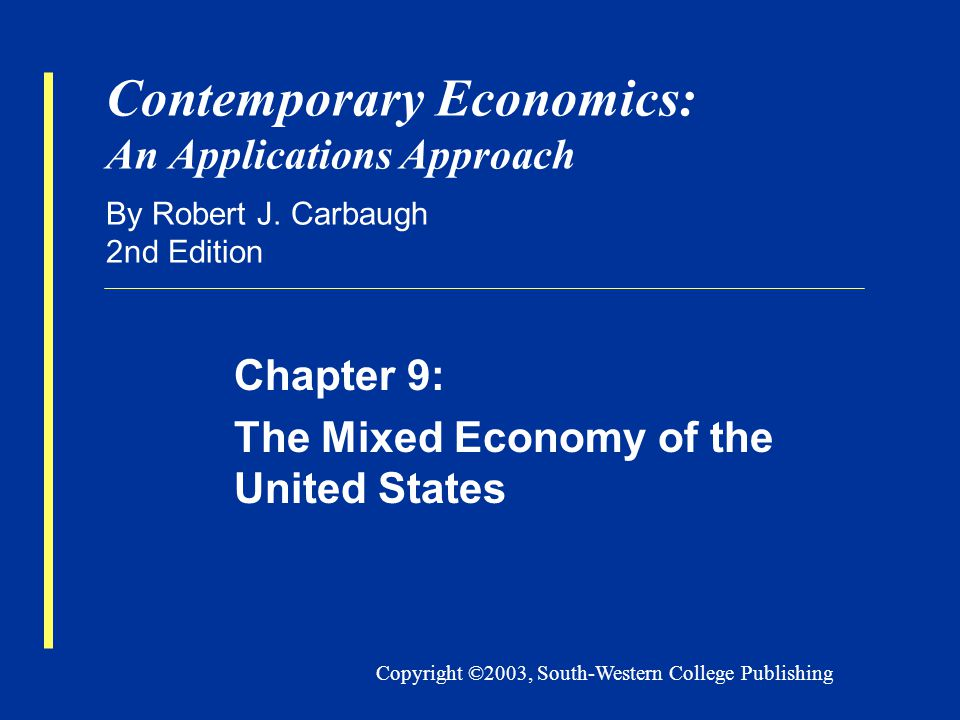 Copyright ©2003, South-Western College Publishing Contemporary Economics: An Applications Approach By Robert J.