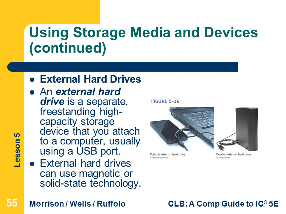 Lesson 5 Morrison / Wells / RuffoloCLB: A Comp Guide to IC 3 5E Using Storage Media and Devices (continued) External Hard Drives An external hard drive is a separate, freestanding high- capacity storage device that you attach to a computer, usually using a USB port.