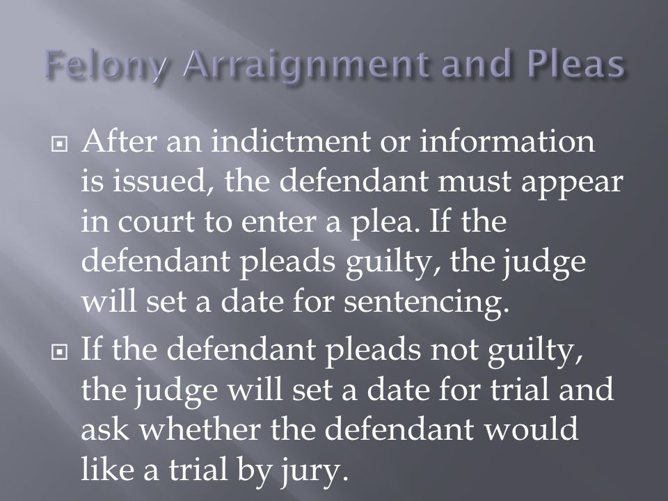  After an indictment or information is issued, the defendant must appear in court to enter a plea.