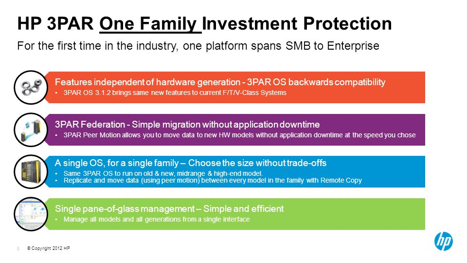 © Copyright 2012 HP 8 HP 3PAR One Family Investment Protection For the first time in the industry, one platform spans SMB to Enterprise Features independent of hardware generation - 3PAR OS backwards compatibility 3PAR OS brings same new features to current F/T/V-Class Systems 3PAR Federation - Simple migration without application downtime 3PAR Peer Motion allows you to move data to new HW models without application downtime at the speed you chose A single OS, for a single family – Choose the size without trade-offs Same 3PAR OS to run on old & new, midrange & high-end model.