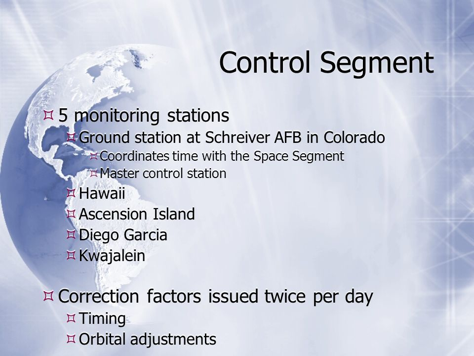 Control Segment  5 monitoring stations  Ground station at Schreiver AFB in Colorado  Coordinates time with the Space Segment  Master control station  Hawaii  Ascension Island  Diego Garcia  Kwajalein  Correction factors issued twice per day  Timing  Orbital adjustments  5 monitoring stations  Ground station at Schreiver AFB in Colorado  Coordinates time with the Space Segment  Master control station  Hawaii  Ascension Island  Diego Garcia  Kwajalein  Correction factors issued twice per day  Timing  Orbital adjustments