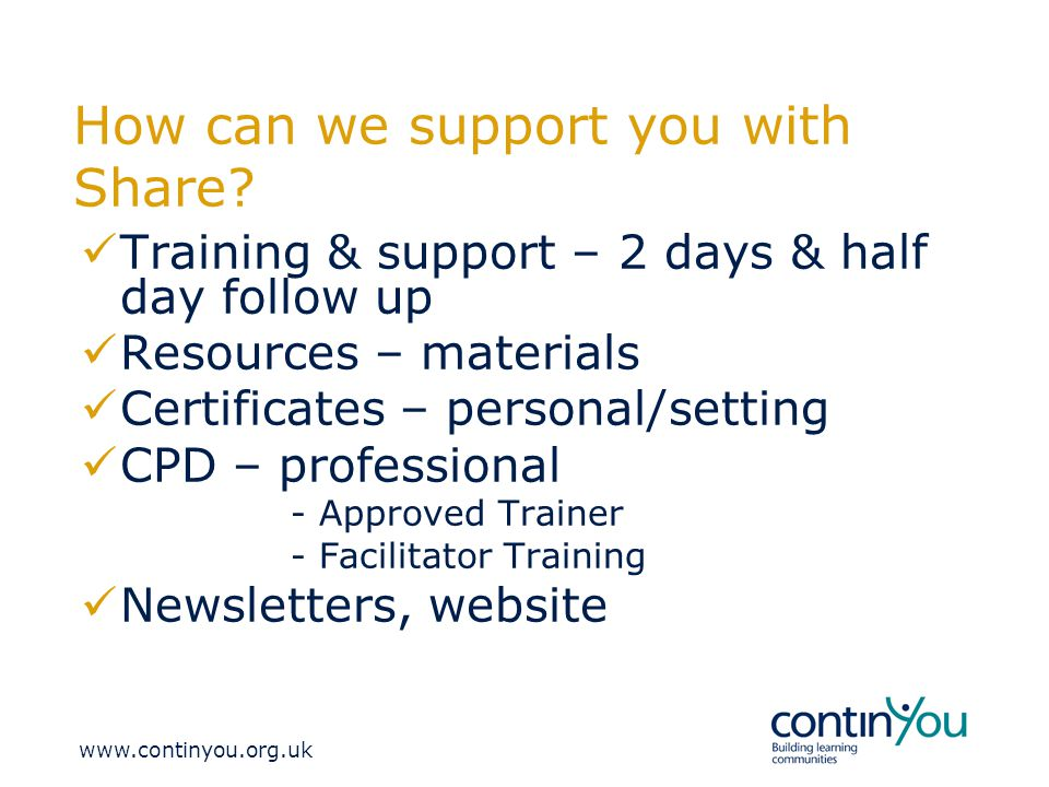 How can we support you with Share.