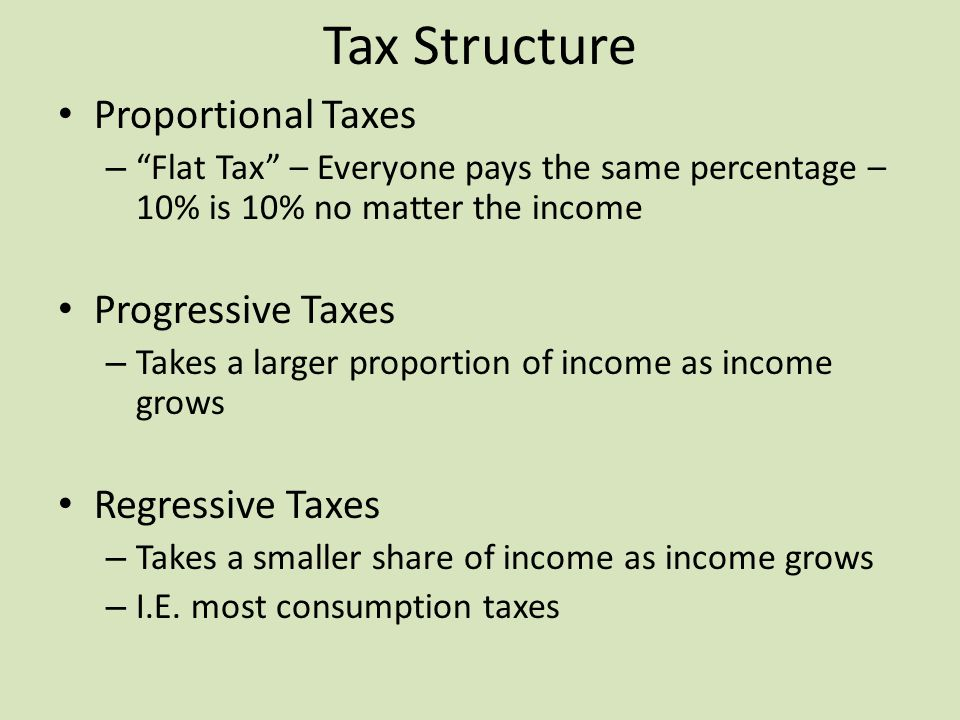 Tax Structure Proportional Taxes – Flat Tax – Everyone pays the same percentage – 10% is 10% no matter the income Progressive Taxes – Takes a larger proportion of income as income grows Regressive Taxes – Takes a smaller share of income as income grows – I.E.