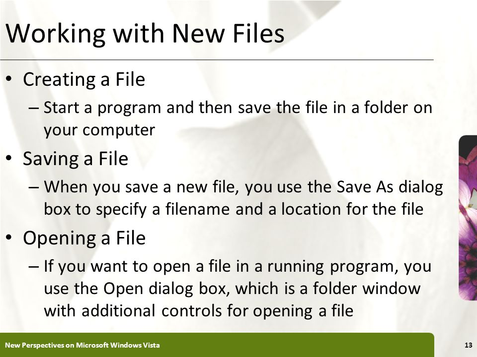 XP Working with New Files Creating a File – Start a program and then save the file in a folder on your computer Saving a File – When you save a new file, you use the Save As dialog box to specify a filename and a location for the file Opening a File – If you want to open a file in a running program, you use the Open dialog box, which is a folder window with additional controls for opening a file New Perspectives on Microsoft Windows Vista13