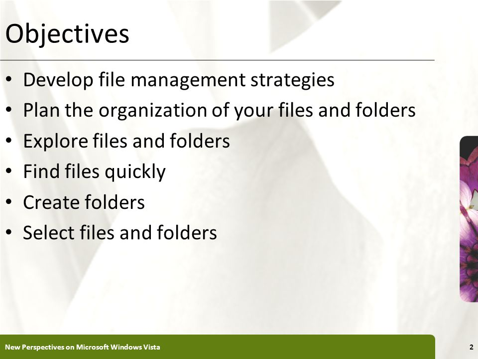 XP Objectives Develop file management strategies Plan the organization of your files and folders Explore files and folders Find files quickly Create folders Select files and folders New Perspectives on Microsoft Windows Vista2