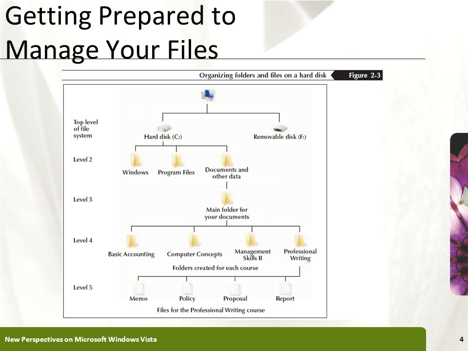 XP Getting Prepared to Manage Your Files New Perspectives on Microsoft Windows Vista4