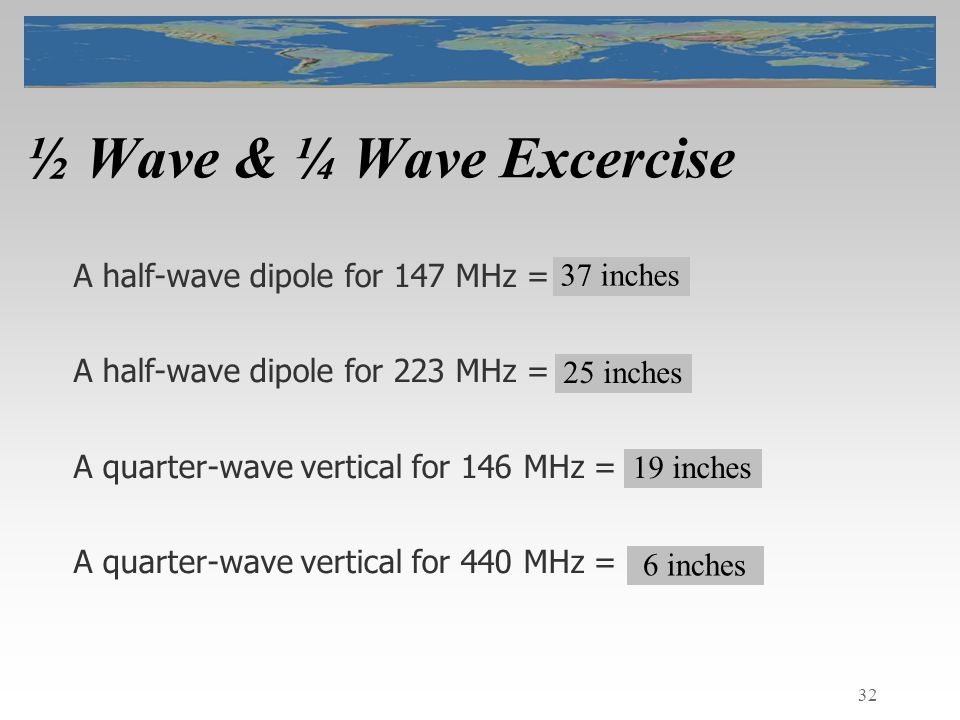 32 ½ Wave & ¼ Wave Excercise A half-wave dipole for 147 MHz = .