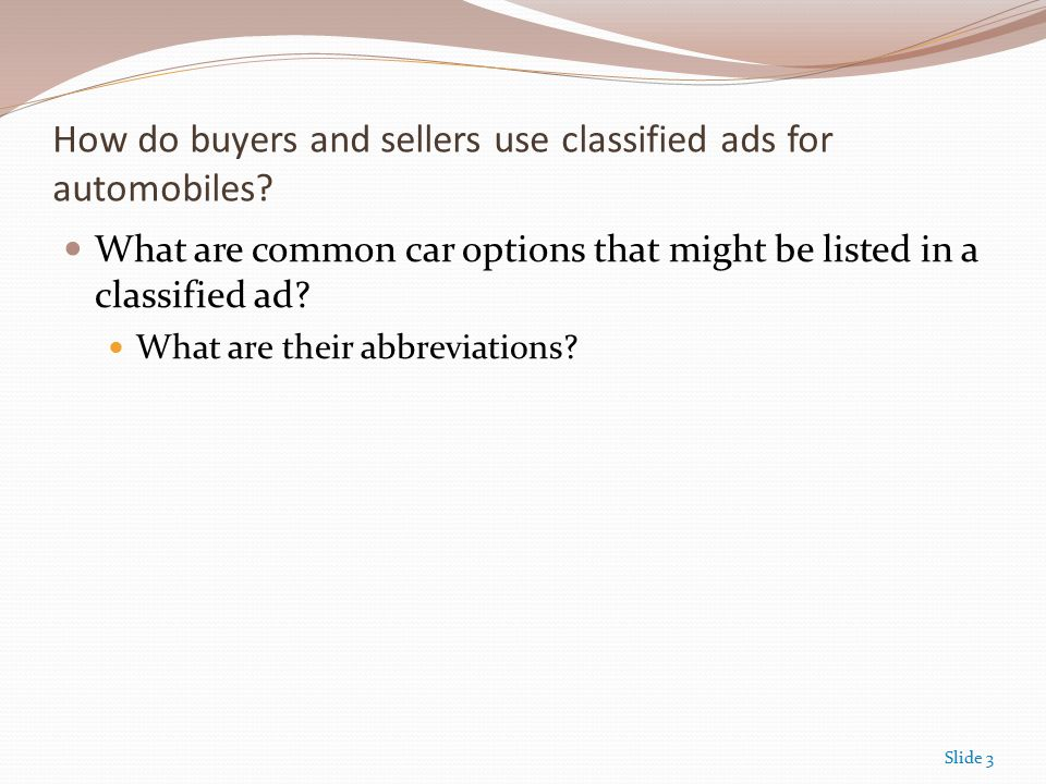 Compute the cost of classified ads for used cars. Compute the cost ...